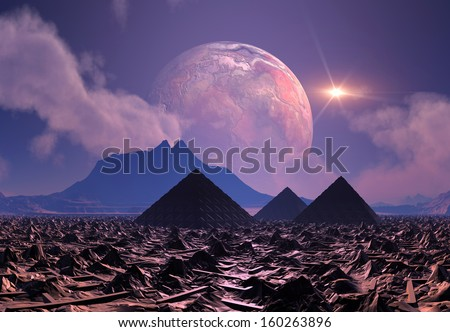 Alien Planet with Mountains and Desert 3D Rendered Computer Artwork