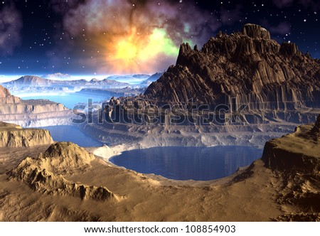 Alien Planet with Mountains and mystic Sky