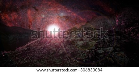 Alien planet with rising sun and many stars- elements of this image are furnished by NASA #306833084