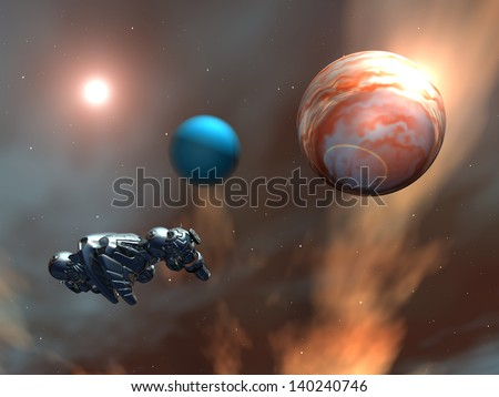 Alien Planets with Alien Spaceship Computer generated 3D illustration