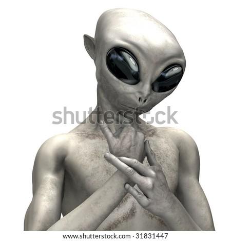 Alien Poses on white background