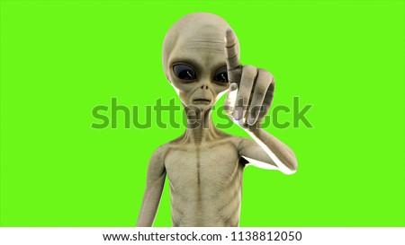 Alien presses the button on green screen. 3D Rendering.