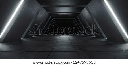 Alien Sci Fi Modern Futuristic Minimalist Empty Dark Concrete Corridor Tunnel With White Glow Light Empty Space For Text Science Fiction Background 3D Rendering Illustration