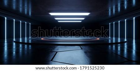 Alien Sci Fi Neon Laser Empty Stage Podium Circle  Concrete Cement Underground Warehouse Background Grunge Futuristic Led Orange Blue White Glowing Lights Spaceship 3D Rendering Illustration