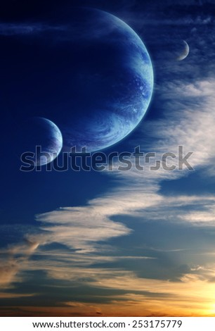Alien sky with planet #253175779