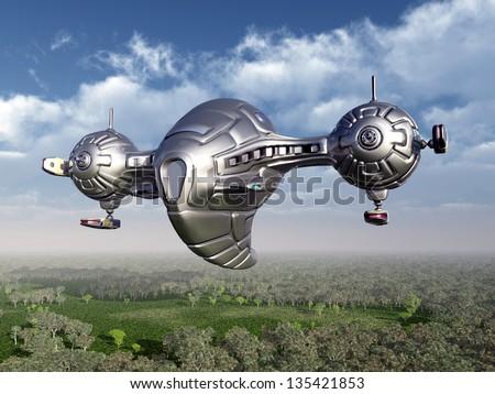 Alien Spacecraft Computer generated 3D illustration - stock photo