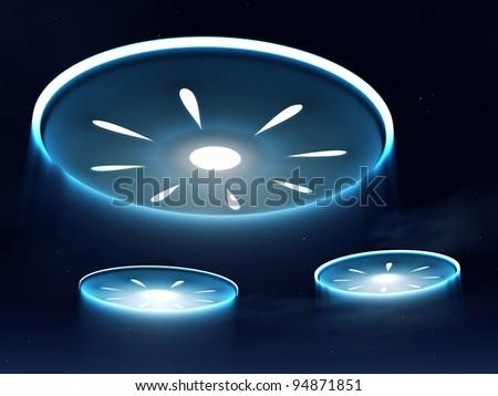 Alien spacecraft in the night sky