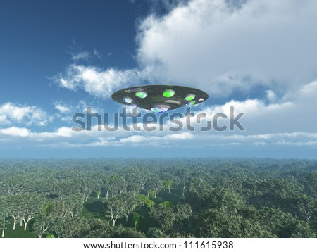 Alien Spacecraft over the Jungle Computer generated 3D illustration