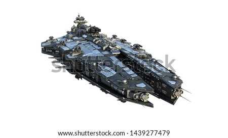 Alien spaceship flying, UFO spacecraft in flight isolated on white background, front view, 3D rendering Foto stock ©