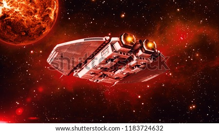 Alien spaceship in deep space, UFO spacecraft flying in the Universe with planet and stars in the background, rear bottom view, 3D rendering