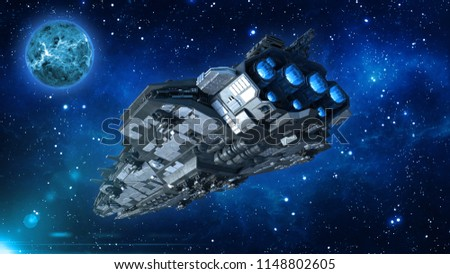 Alien spaceship in the Universe, spacecraft flying in deep space with planet and stars in the background, UFO rear bottom view, 3D rendering Foto stock ©