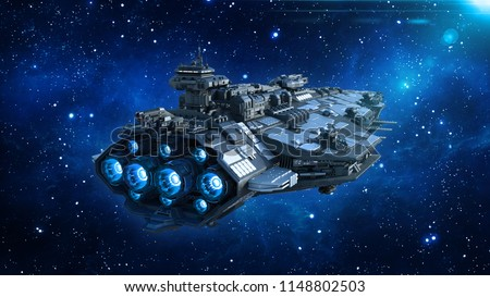 Alien spaceship in the Universe, spacecraft flying in deep space with stars in the background, UFO rear view, 3D rendering