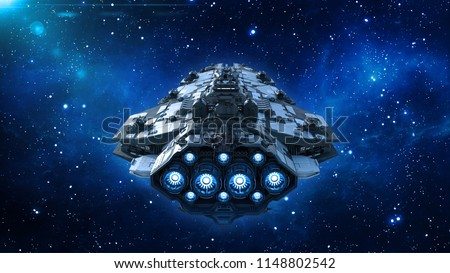 Alien spaceship in the Universe, spacecraft flying in deep space with stars in the background, UFO back view, 3D rendering