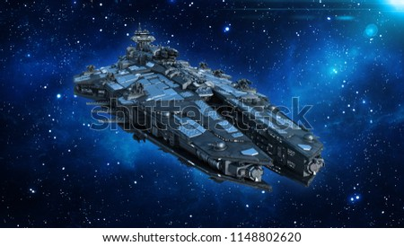 Alien spaceship in the Universe, spacecraft flying in deep space with stars in the background, UFO front view, 3D rendering