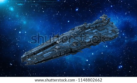 Alien spaceship in the Universe, spacecraft flying in deep space with stars in the background, UFO, 3D rendering