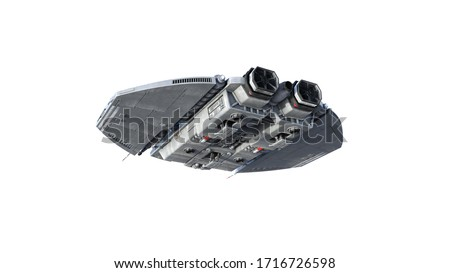Alien spaceship, UFO spacecraft in flight isolated on white background, rear bottom view, 3D rendering Foto stock ©