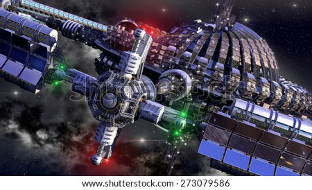 stock-photo-alien-spaceship-with-central-dome-and-gravitation-wheel-in-interstellar-deep-space-travel-for-273079586.jpg