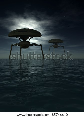 Alien tripods in a dark moonlit ocean