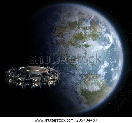 Alien UFO nearing Earth for futuristic, fantasy or interstellar deep space travel backgrounds. Earth map for this 3D image is a .jpg file provided under a general permission by NASA.
