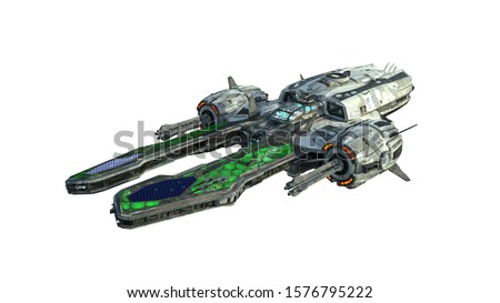 Alien UFO spaceship, spacecraft in flight isolated on white background, 3D rendering Foto stock ©