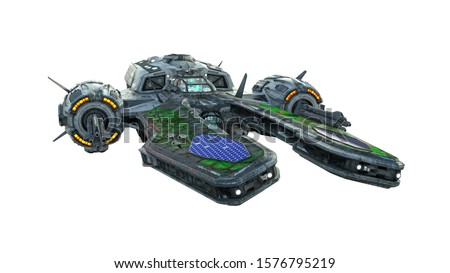 Alien UFO spaceship, spacecraft in flight isolated on white background, front view, 3D rendering Foto stock ©