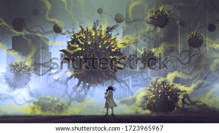alien virus invasion concept, mother and her baby facing black sphere aliens in the city, digital art style, illustration painting