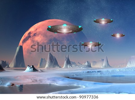 Alien World, fantasy alien planet with mountains, water and UFOs