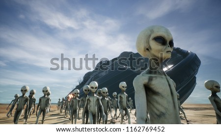Aliens are evacuated from a fallen and burning spaceship. 3D Rendering