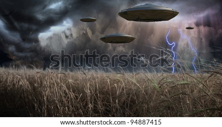 Aliens Invade - stock photo