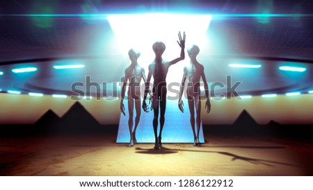Aliens landing with ufo on earth coming in peace near pyramids - 3D rendering