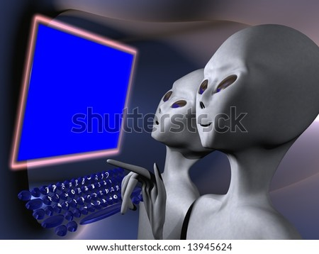 Aliens on a computer terminal