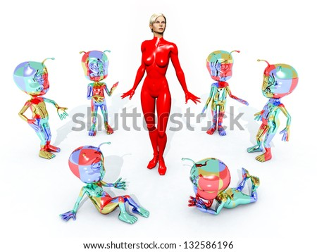 Aliens with Sexy Woman Computer generated 3D illustration