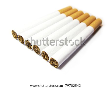 Aligned cigarettes isolated in white