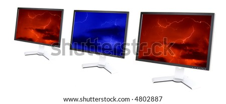 Aligned lcd monitors with thunderstorm in display
