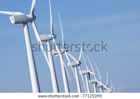 aligned windmills for renovable electric production