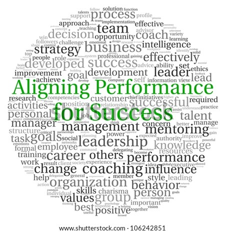 Aligning Performance for Success concept in word tag cloud on white background - stock photo