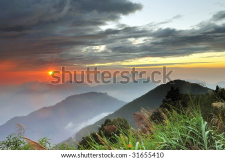Alishan mountain sunset - stock photo