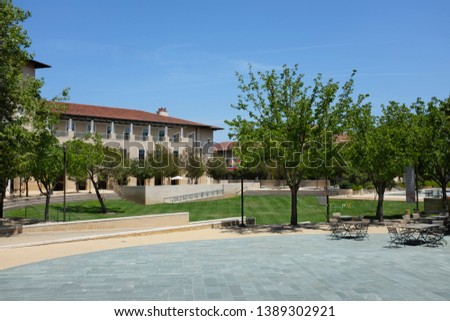 ALISO VIEJO, CALIFORNIA, MAY 4, 2019: Patio outside the Soka Bistro with the Ikeda Library in the background, Soka University.  #1389302921