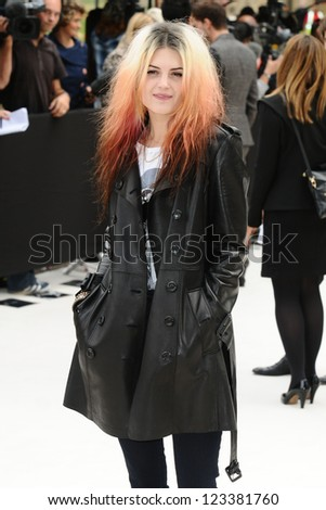 Alison Mosshart arriving for the Burberry Prorsum catwalk show as part of London Fashion Week SS13, Kensington Gardens, London. 17/09/2012 Picture by: Steve Vas