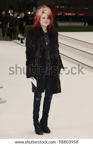 Alison Mosshart arriving for the Burberry Prorsum fashion show as part of London Fashion Week 2012 A/W in Kensington Gardens, London. 20/02/2012 Picture by: Steve Vas / Featureflash