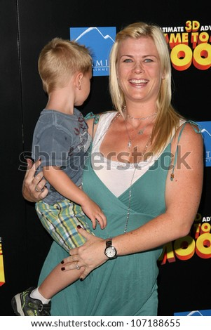 """Alison Sweeney and son Benjamin  at the Los Angeles Premiere of """"Fly Me To The Moon"""". DGA, Hollywood, CA. 08-03-08 - stock photo"""