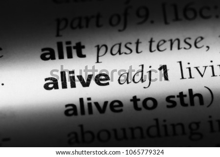 alive word in a dictionary. alive concept. #1065779324