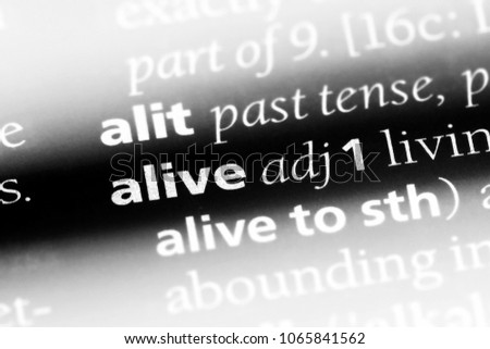alive word in a dictionary. alive concept. #1065841562