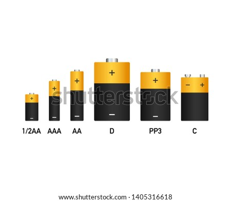Alkaline batteries realistic style set of different size. stock illustration. #1405316618