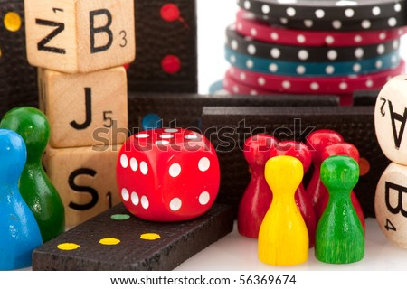 All attributes to play board games isolated over white