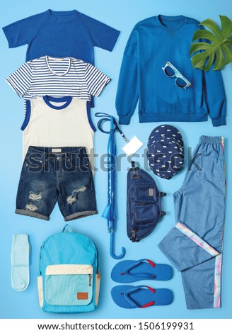 All blue color group to t-shirt . sweater . Hat . bag . Glasses . long pants . pants . vest . sock and sandals in blue color background  #1506199931