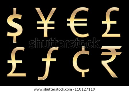 all currencies symbols in gold, for business concepts.