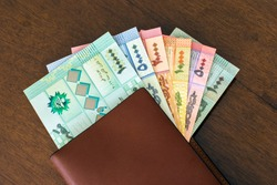 All denominations of Lebanese pound bills