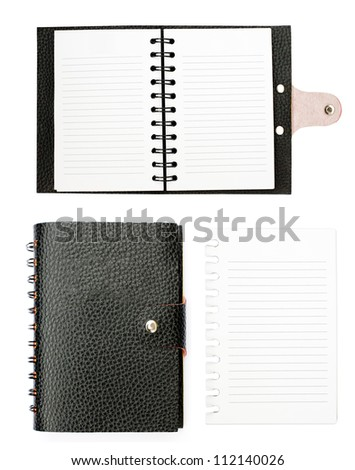 All detail black leather notebook