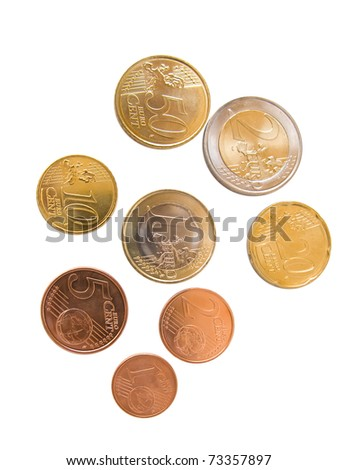 All euro coins available, isolated in white